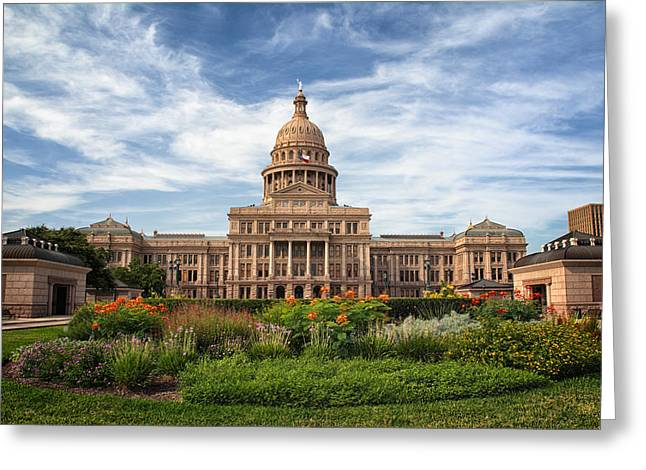 Austin Landmarks Greeting Cards - Texas State Capitol Greeting Card by Joan Carroll