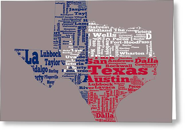 Confederate Flag Greeting Cards - Texas State Flag Word Cloud Greeting Card by Brian Reaves