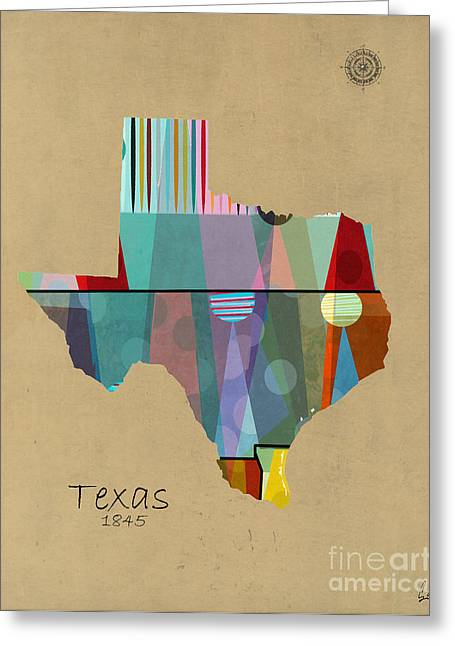 World Digital Map Greeting Cards - Texas State Map Greeting Card by Bri Buckley