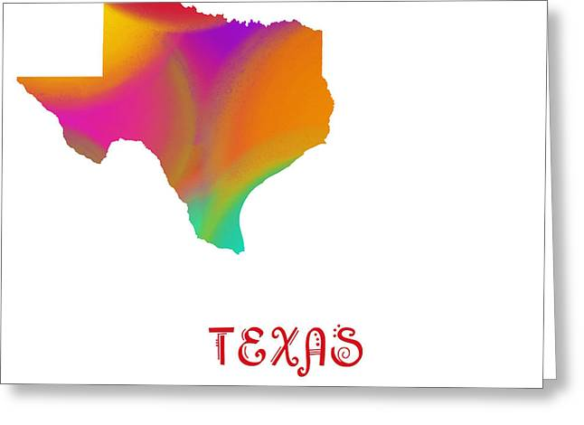 State Phrase Greeting Cards - Texas State Map Collection 2 Greeting Card by Andee Design