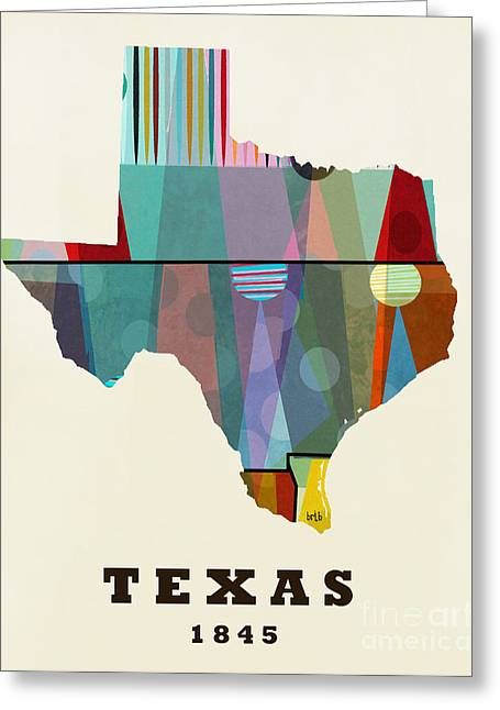 World Map Print Paintings Greeting Cards - Texas State Map Modern Greeting Card by Bri Buckley