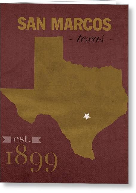 Bobcats Greeting Cards - Texas State University Bobcats San Marcos College Town State Map Pillow Greeting Card by Design Turnpike