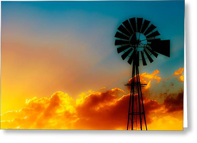 Windmills Greeting Cards - Texas Sunrise Greeting Card by Darryl Dalton