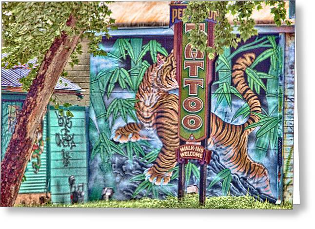 Texas Architecture Greeting Cards - Texas Tatoo Parlor Mural and Sign Greeting Card by Linda Phelps
