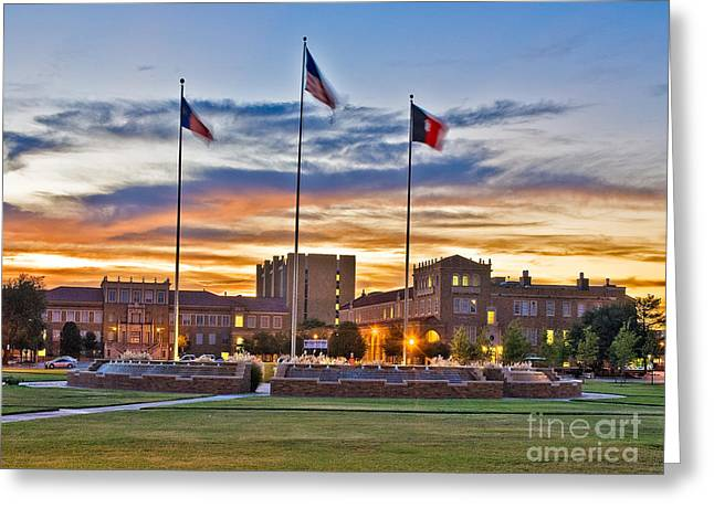 Sunset Framed Prints Digital Greeting Cards - Texas Tech Memorial Circle at Sunset Greeting Card by Mae Wertz