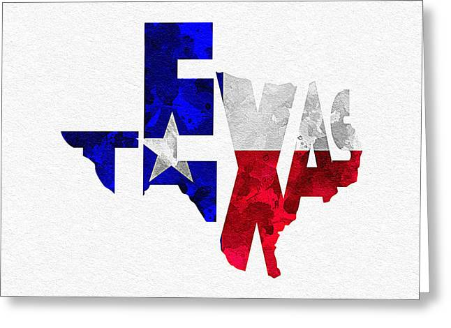 Usa Flag Pastels Greeting Cards - Texas Typographic Map Flag Greeting Card by Ayse Deniz