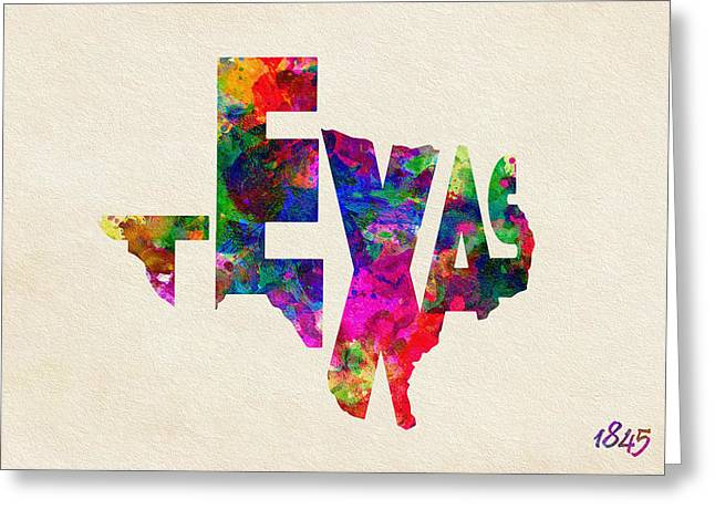 Abstract Map Greeting Cards - Texas Typographic Watercolor Flag Greeting Card by Ayse Deniz