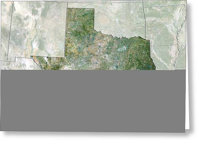 Northeastern United States Greeting Cards - Texas, USA, satellite image Greeting Card by Science Photo Library