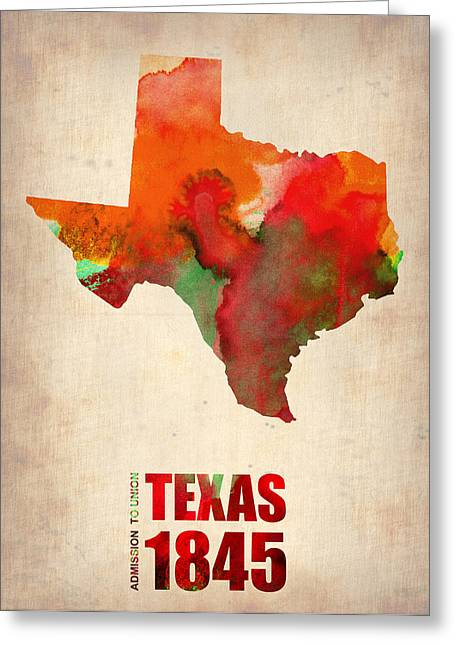 States Greeting Cards - Texas Watercolor Map Greeting Card by Naxart Studio