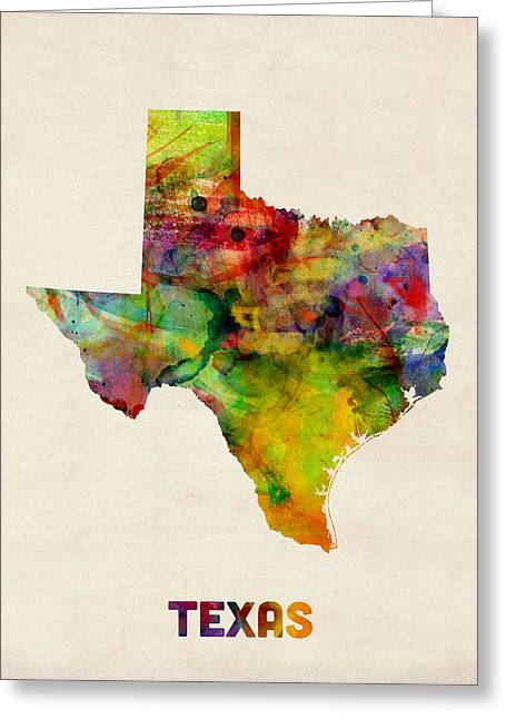 State Map Greeting Cards - Texas Watercolor Map Greeting Card by Michael Tompsett