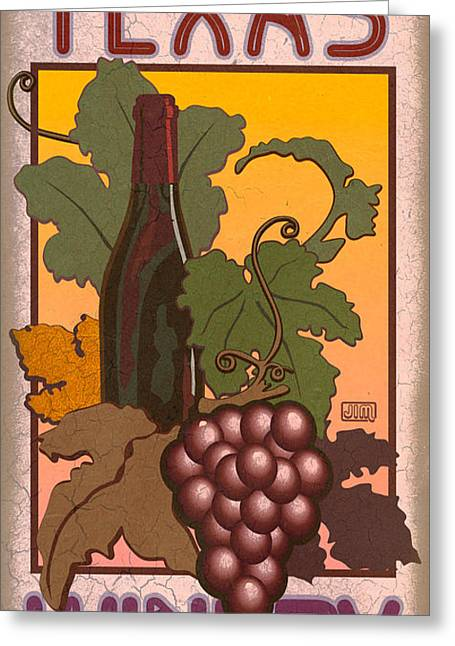 Wine Grapes Digital Art Greeting Cards - Texas Winery Greeting Card by Jim Sanders