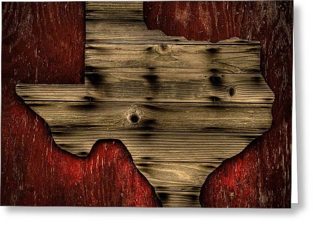 Wood Grain Greeting Cards - Texas Wood Greeting Card by Darryl Dalton