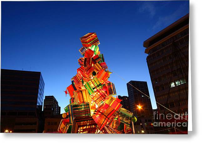 Tarjetas Greeting Cards - Textile Christmas Tree in La Paz Greeting Card by James Brunker