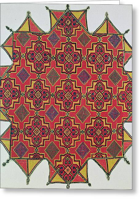 Repetition Greeting Cards - Textile with geometric pattern Greeting Card by Moroccan School