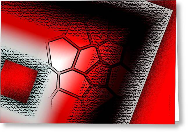 Geometry Greeting Cards - Texture in White Black and Red Design Greeting Card by Mario  Perez