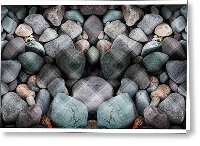 On The Beach Greeting Cards - Textured Beach Rocks Mirrored Greeting Card by Barbara Griffin
