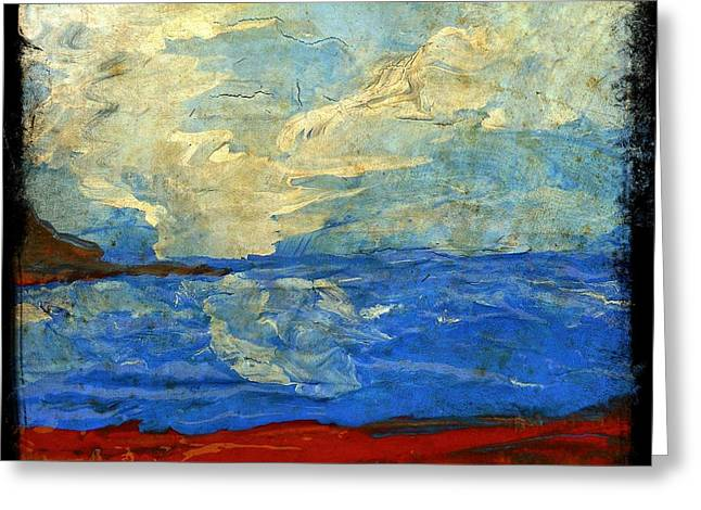 Textured Beach Scene Painting Fine Art Print Greeting Card by Laura  Carter