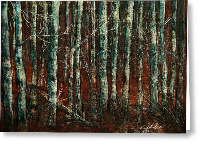 Reds Of Autumn Mixed Media Greeting Cards - Textured Birch Forest Greeting Card by Jani Freimann
