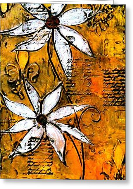 Print On Canvas Greeting Cards - Textured Daisies Painting Greeting Card by Laura  Carter