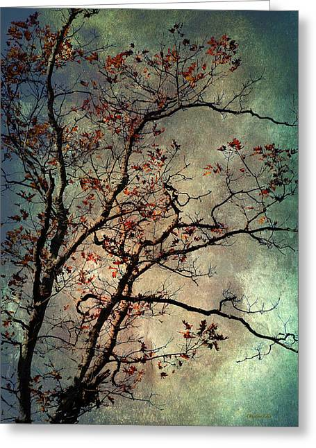 Burgundy Mixed Media Greeting Cards - Textured Oak Tree Art Greeting Card by Christina Rollo