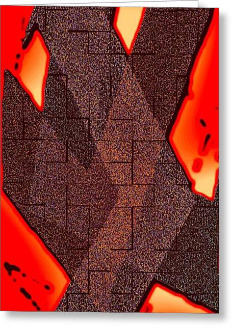Transparency Geometric Greeting Cards - Texture over Red Greeting Card by Mario  Perez