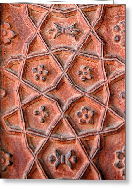 Handwork Greeting Cards - Textured Pattern Fatepur Sikri Palace Greeting Card by Linda Phelps