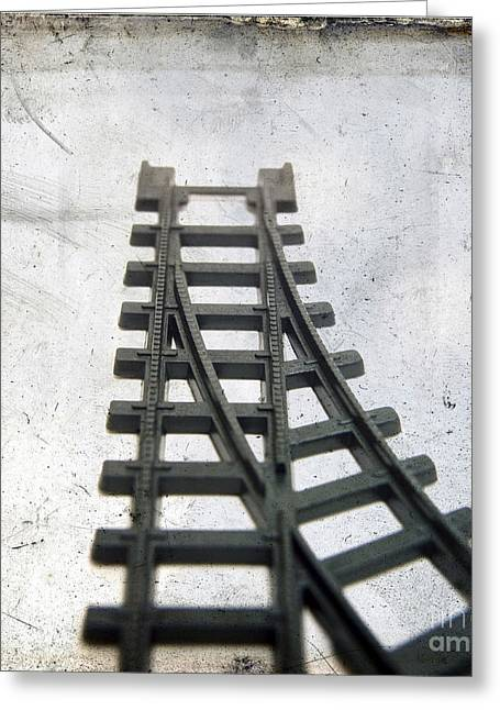 Train Tracks Greeting Cards - Textured railway Greeting Card by Bernard Jaubert