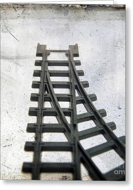 Train Track Greeting Cards - Textured railway Greeting Card by Bernard Jaubert