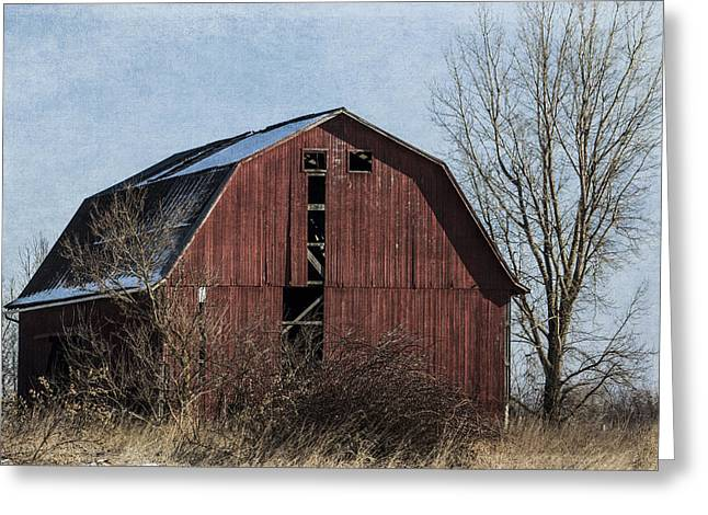 Bare Trees Mixed Media Greeting Cards - Textured Red Barn Greeting Card by Kathleen Scanlan