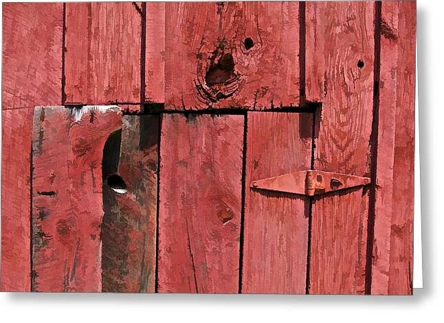 Old Crumbling Barn Greeting Cards - Textured Red Barn Wall Greeting Card by David Letts