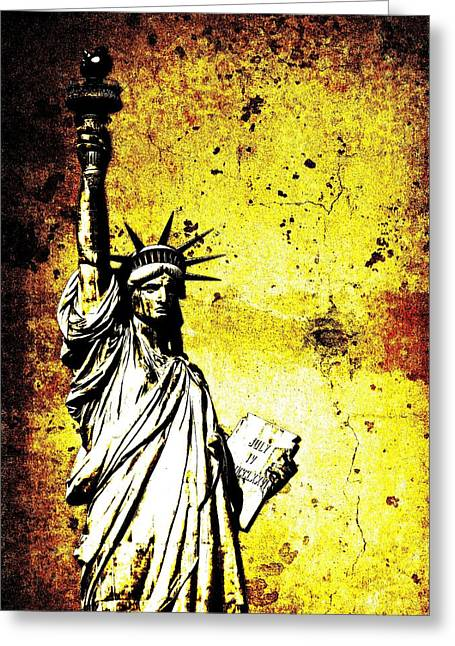 Textured Statue Of Liberty Greeting Card by Dan Sproul