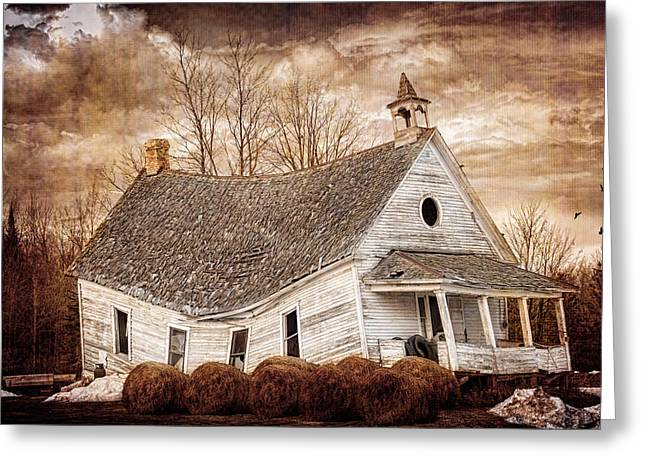 Textured Sway Back School House Greeting Card by Paul Freidlund