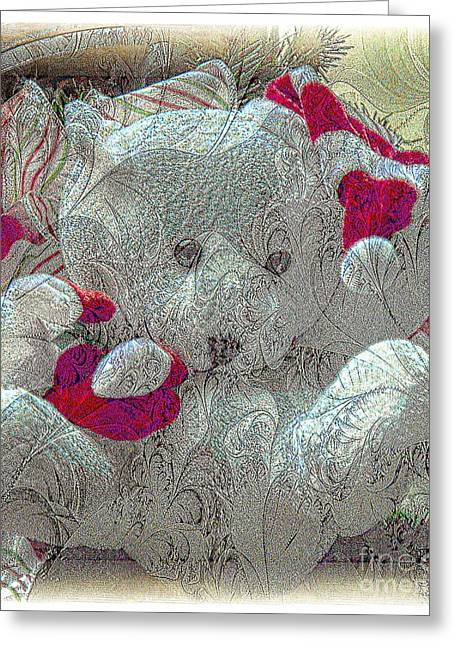 Struckle Greeting Cards - Textured Teddy Greeting Card by Kathleen Struckle