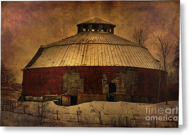 Round Barn Greeting Cards - Textured Vermont Round Barn Greeting Card by Deborah Benoit