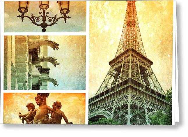 Textures Of Paris Collage Greeting Card by Carol Groenen