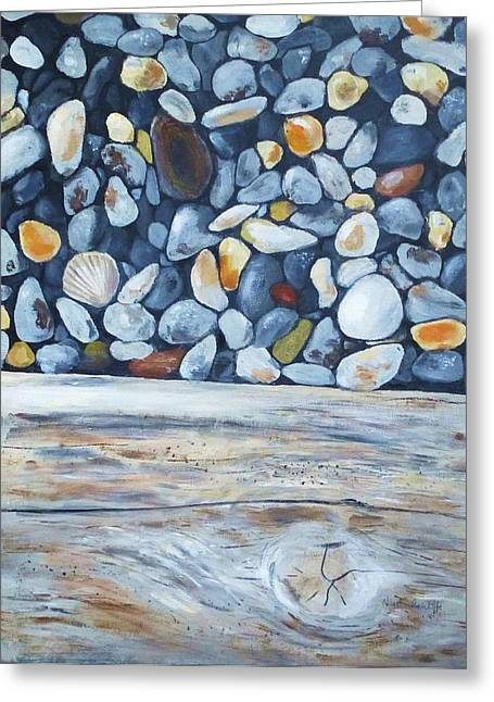 Agate Beach Greeting Cards - Textures on the beach Greeting Card by Nigel Radcliffe