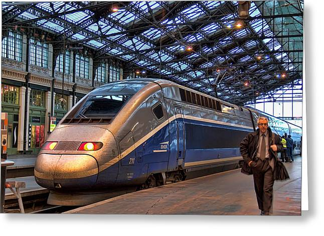 Liberte Greeting Cards - TGV at the train station  Greeting Card by Paris France