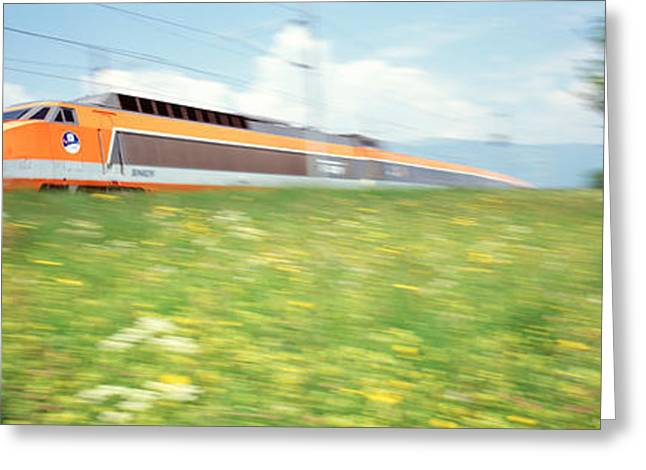 The Hills Greeting Cards - Tgv High-speed Train Moving Through Greeting Card by Panoramic Images