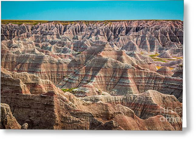 Layered Rock Greeting Cards - Tha Badlands Greeting Card by Perry Webster