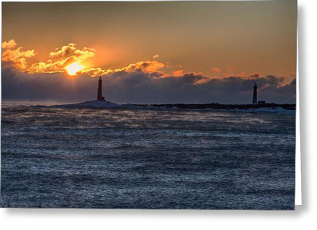 Thacher Island Lighthouse Morning Dawn Greeting Card by Jeff Folger