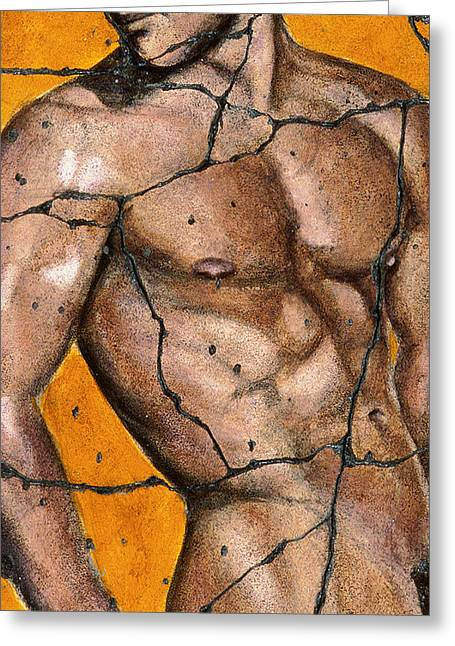 Naked Men Greeting Cards - Thaddeus - Study No. 1 Greeting Card by Steve Bogdanoff