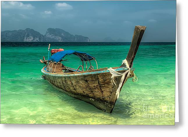 Shallows Greeting Cards - Thai Boat  Greeting Card by Adrian Evans