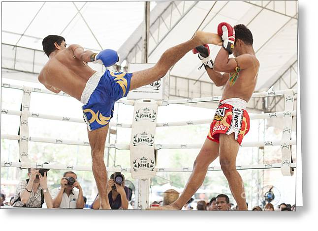 Thai Art Greeting Cards - Thai boxing match Greeting Card by Anek Suwannaphoom
