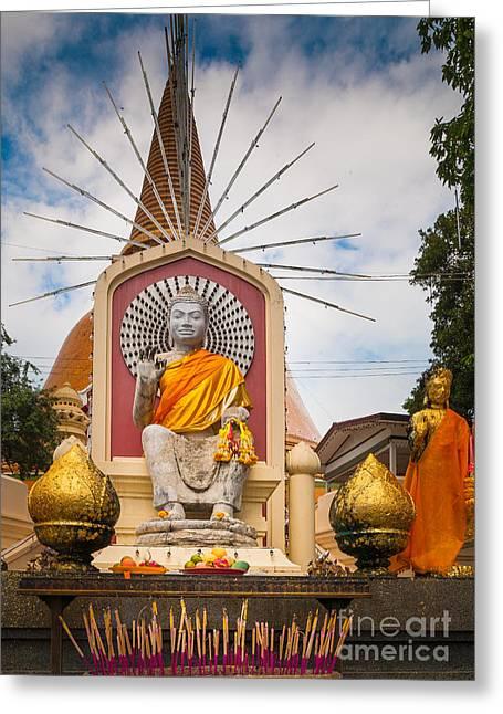 Figurines Greeting Cards - Thai Buddha Greeting Card by Inge Johnsson