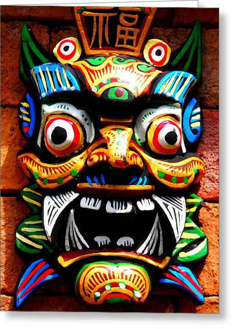 Justin Woodhouse Greeting Cards - Thai Buddhist Mask Greeting Card by Justin Woodhouse
