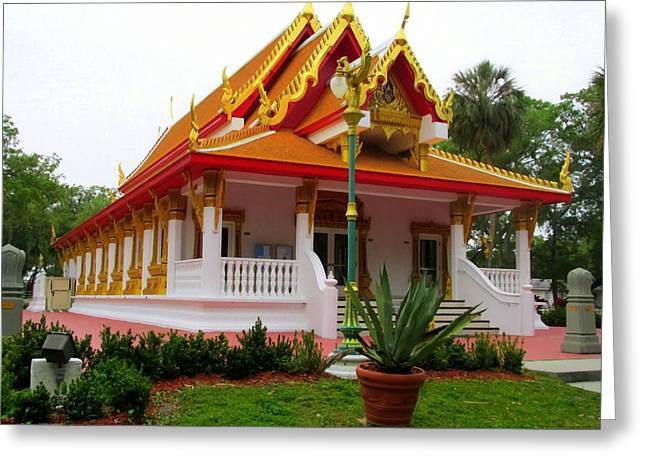 The Followers Photographs Greeting Cards - Thai Buddhist Temple II Greeting Card by Buzz  Coe
