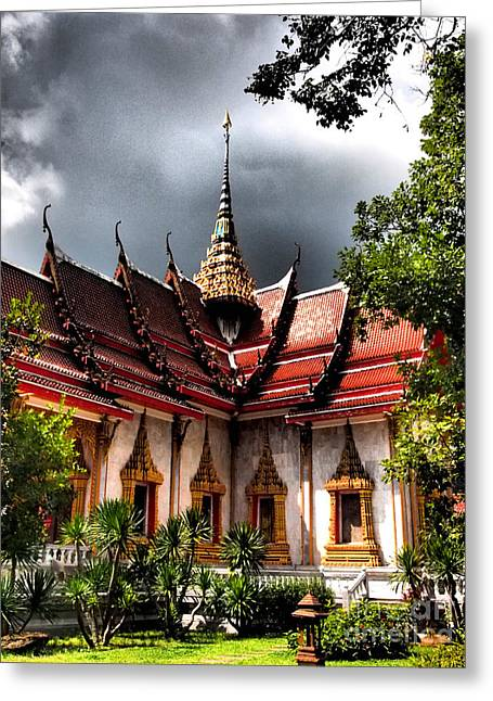 Justin Woodhouse Greeting Cards - Thai Buddhist Temple Greeting Card by Justin Woodhouse