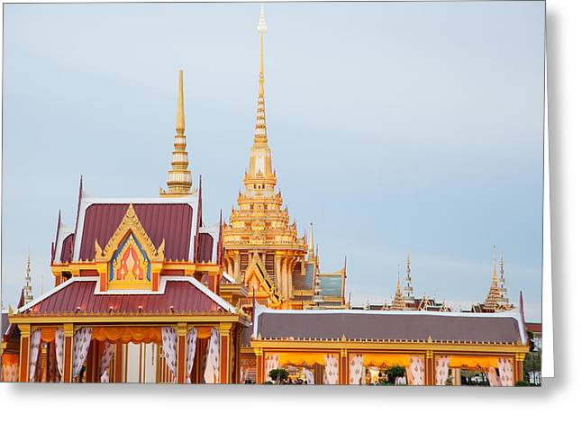 Traditional Art Sculptures Greeting Cards - Thai construction design. Greeting Card by Vachiraphan Phangphan