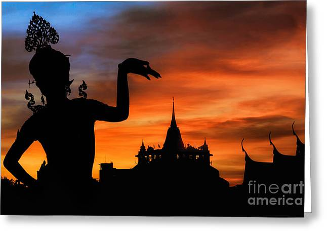 Dancer Art Greeting Cards - Thai Dance Woman With Background Silhouette Greeting Card by Anek Suwannaphoom