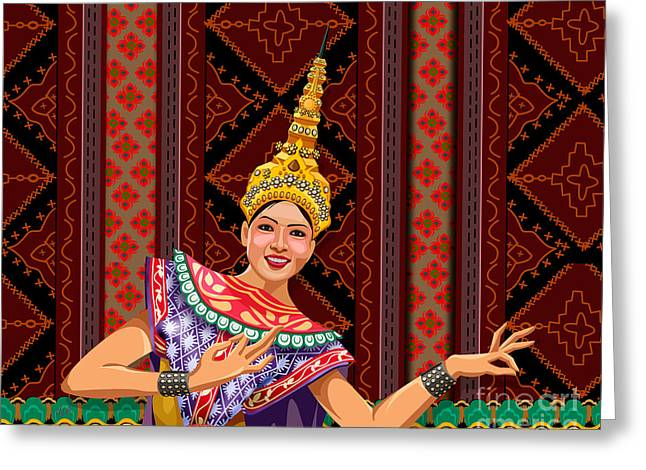 Female ist Mixed Media Greeting Cards - Thai Dancer Greeting Card by Bedros Awak